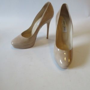 """JIMMY CHOO """"COSMIC"""" NUDE PATENT LEATHER PUMPS 8*"""